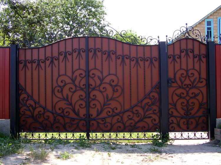 Ворота с калиткой из профлиста своими руками фото фото 717